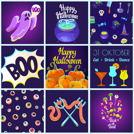Set with Halloween patterns and posters. Funny and scary objects. Vector illustration of eyes, potion, broom, candies, hat and boots in cartoon style. Stock Photo