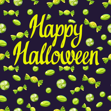 Happy Halloween poster with multicolored candy pattern. Funny vector illustration for holiday in cartoon style. Seamless background. Foto de archivo - 112406097