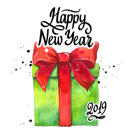 Watercolor holiday illustration with green gift box and red ribbon on white background. Handwritten inscription. Lettering design. Happy new year 2019.