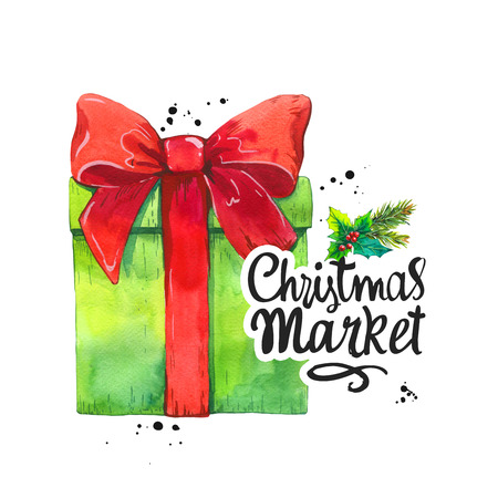 Watercolor holiday illustration with green gift box and red ribbon on white background. Handwritten inscription. Lettering design. Christmas market.