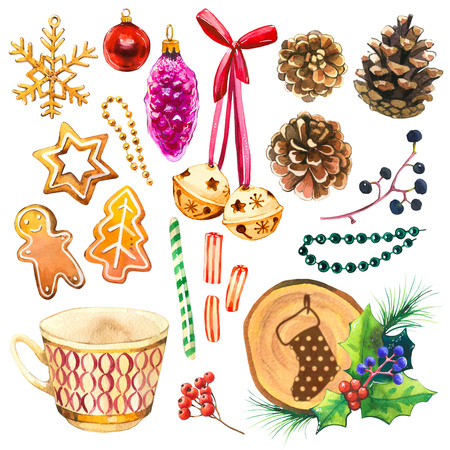Christmas watercolor illustration in picturesque style. Holiday set. with ribbon, bell, orange, holly, cup, beads, cookies, ball, branch, spruce, candies. New year decoration. Imagens - 112775304