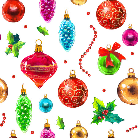 Christmas watercolor illustration in picturesque style. Holiday seamless pattern with ribbon, holly, beads, ball, leaves. New year decoration on white background. Фото со стока