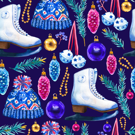 Christmas watercolor illustration in picturesque style. Holiday seamless pattern with ribbon, spruce, cone, skates, knitted hat, beads, ball. New year decoration on blue background.