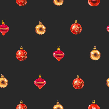 Christmas watercolor illustration in picturesque style. Holiday seamless pattern with red and yellow balls. New year decoration on black background.