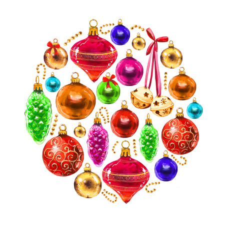Christmas watercolor circle illustration in picturesque style. Holiday set with balls, bell, ribbon. New year decoration. Stock Photo