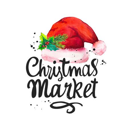 Watercolor holiday illustration with Santas cap on white background. Handwritten inscription. Lettering design. Christmas market. Standard-Bild - 112775322