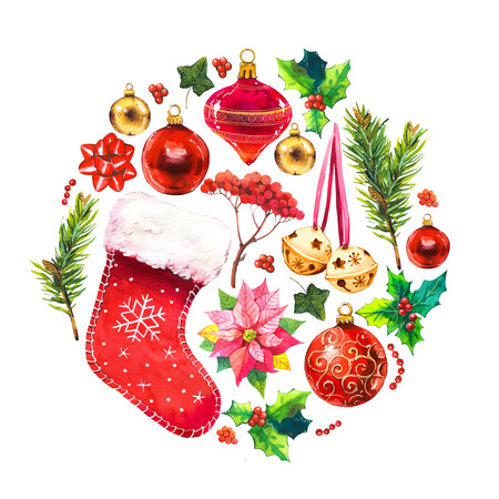 Christmas watercolor circle illustration in picturesque style. Holiday set with ribbon, sock, poinsettia, bell, holly, spruce, cup, beads, ball. New year decoration.