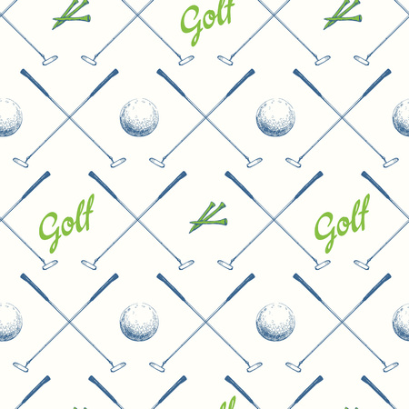 Seamless golf pattern with putter. Vector set of hand-drawn sports equipment. Illustration in sketch style on white background.