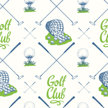 Seamless golf pattern with busket and ball. Vector set of hand-drawn sports equipment. Illustration in sketch style on white background.