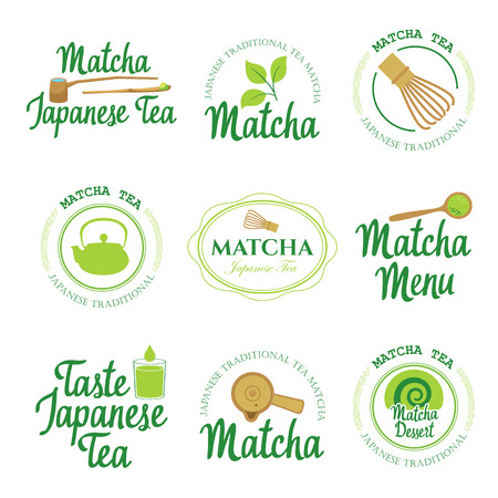 Japaneese ethnic and national tea ceremony. Matcha  packaging  set. Traditions of teatime. Decorative elements for your design. Vector Illustration with party symbols on white background.