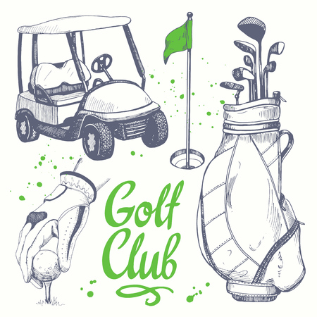 Golf set with shoes, car, putter, ball, gloves, flag, bag. Vector set of hand-drawn sports equipment. Illustration in sketch style on white background. Handwritten ink lettering.