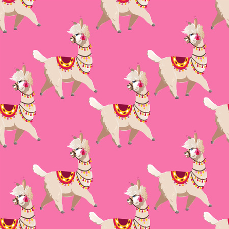 Illustration with alpaca and cactus plants. Vector seamless pattern on pink background. Llama.