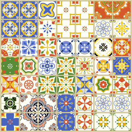 Seamless pattern with with Portuguese tiles. Vector illustration of Azulejo on white background. Mediterranean style. Multicolor design. Ilustrace