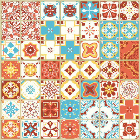 Seamless pattern with with Portuguese tiles. Vector illustration of Azulejo on white background. Mediterranean style. Multicolor design. Illustration