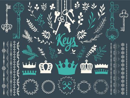 Vector illustration with design elements for decoration. Big silhouettes set of keys, wreaths, crown, branch on dark blue background. Vintage style. Illustration