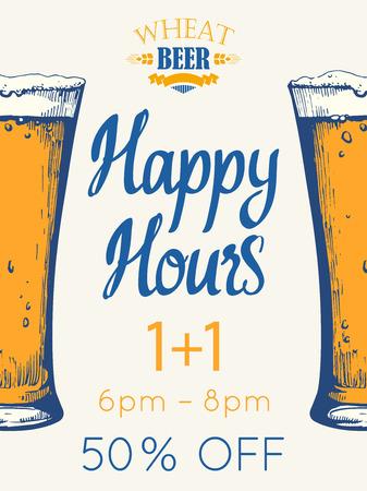 Cartel de happy hours. Ilustración de vector con vaso de cerveza en el estilo de dibujo para bar. Menú de bebidas para celebración. Oferta especial.