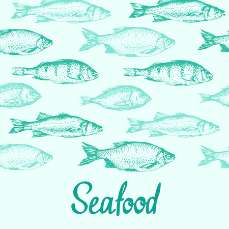 Vector background with sketch of fish. Hand drawn illustration on white background. Seafood. Illusztráció