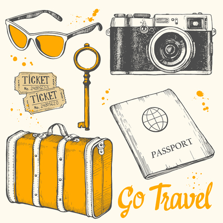 Travel hand-drawn set with sunglasses, tickets, key, camera, passport, suitcase. Vector illustration in sketch style on white background. Brush calligraphy elements. Handwritten ink lettering. Ilustracja