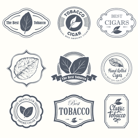 Etichette di illustrazione vettoriale. Simboli semplici tabacco, sigaro. Tradizioni di fumo. Elementi decorativi, icona per il tuo design. Stile da gentiluomo.