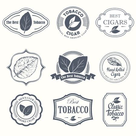 Etykiety ilustracji wektorowych. Proste symbole tytoniu, cygara. Tradycje dymu. Elementy ozdobne, ikona do projektowania. Styl dżentelmena.