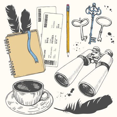Travel hand-drawn set with notepad, tickets, cup, keys, feathers, binoculars. Vector illustration in sketch style on white background. Brush calligraphy elements. Handwritten ink lettering. Stock Illustratie