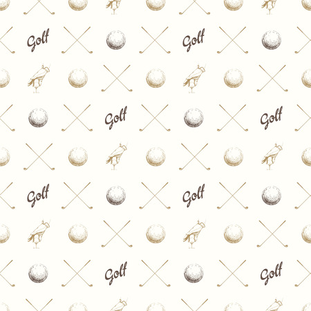 Seamless golf pattern with balls. Vector set of hand-drawn sports equipment. Illustration in sketch style on white background.