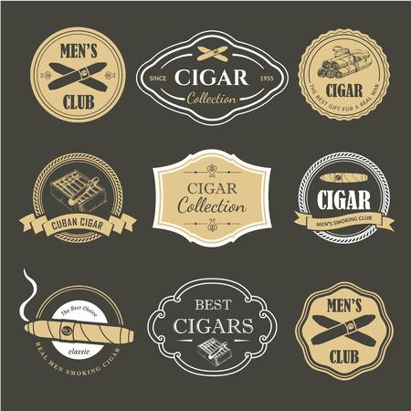 Etiquetas de ilustración vectorial. Símbolos simples tabaco, cigarro. Tradiciones del humo. Ilustraciones decorativas, icono para su diseño. Estilo caballero. Ilustración de vector