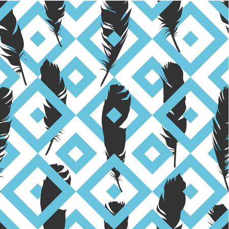 Seamless black illustration with feathers on a blue geometric background. Natural vector pattern. Boho style. Simple silhouettes.