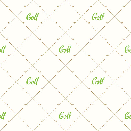 Seamless golf pattern. Vector set of hand-drawn sports equipment. Illustration in sketch style on white background.