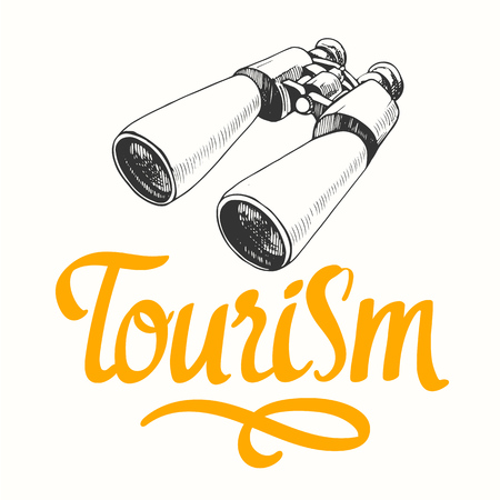Travel vector illustration with binoculars in sketch style on white background. Brush calligraphy elements for your design. Handwritten ink lettering. Çizim