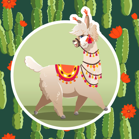 Illustration with llama and cactus plants. Vector seamless pattern on botanical background. Greeting card with Alpaca. 向量圖像