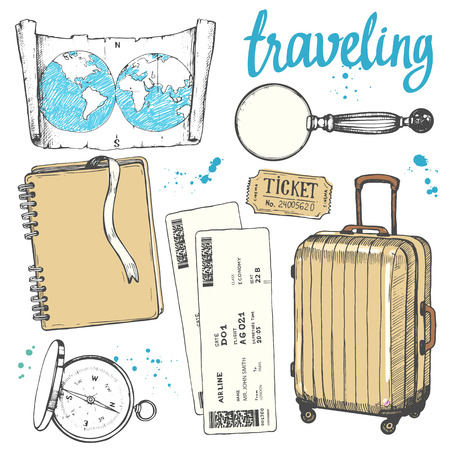 Travel hand-drawn set with photos, tickets, compass, magnifier, map, suitcase. Vector illustration in sketch style on white background. Brush calligraphy elements. Handwritten ink lettering.