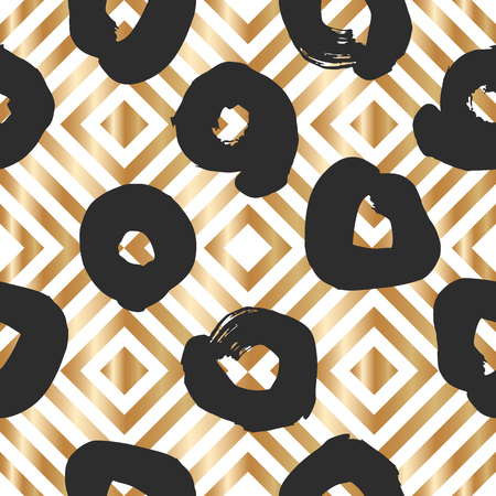 Seamless pattern with creative brush gold texture. Vector illustration of black smudges on white background. Stock Vector - 116587793