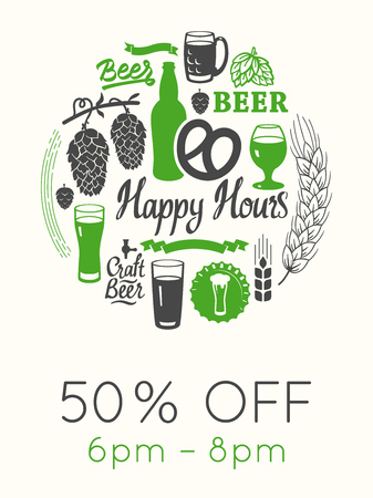 Happy hours poster. Vector illustration with glass of beer in sketch style for bar. Drink menu for celebration. Special offer.