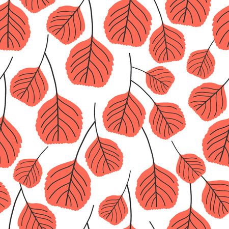 Vector seamless pattern on white. Floral background with leaves elements. Natural design.