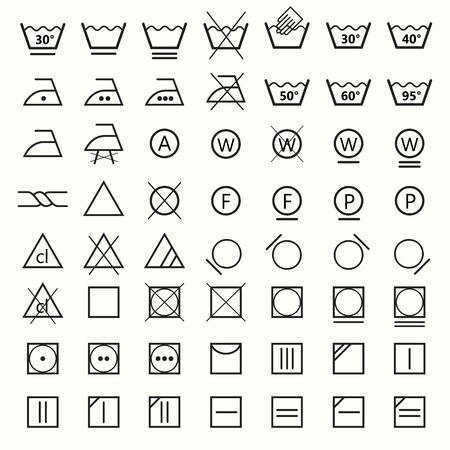 Icon set of laundry symbols, vector illustration Archivio Fotografico - 116208183
