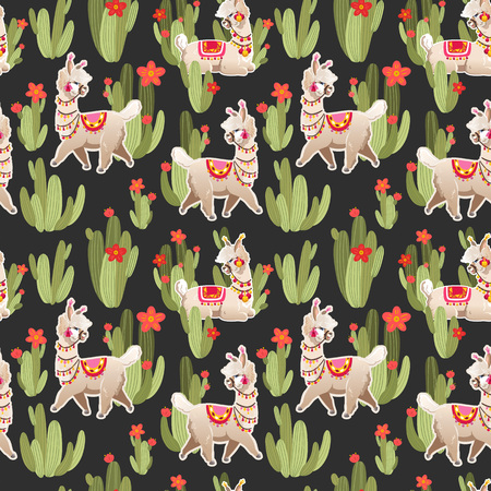 Illustration with alpaca and cactus plants. Vector seamless pattern on black background. Llama.