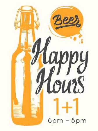 Affiche des heures heureuses. Illustration vectorielle avec bouteille de bière dans le style de croquis pour bar. Menu de boissons pour la célébration. Offre spéciale.