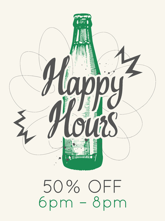 Happy hours poster. Vector illustration with bottle of beer in sketch style for bar. Drink menu for celebration. Special offer. Ilustração