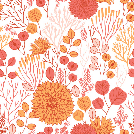 Vector fall seamless pattern on white. Abstract background with floral elements. Natural design. Autumn mood.