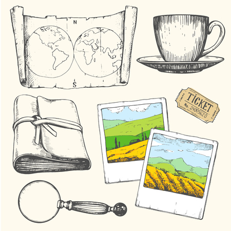 Travel hand-drawn set with photos, tickets, cup, magnifier, map. Vector illustration in sketch style on white background. Brush calligraphy elements. Handwritten ink lettering. Standard-Bild - 116587812