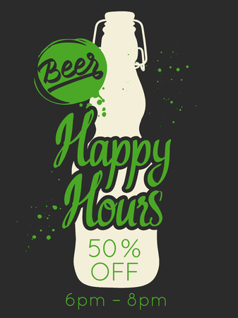 Happy hours poster. Vector illustration with bottle of beer in sketch style for bar. Drink menu for celebration. Special offer. Illustration