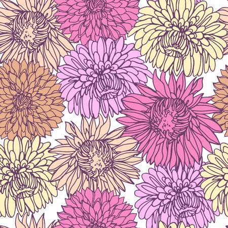Nahtloser Hintergrund mit Chrysanthemen im Skizzenstil. Schönes Blumenmuster. Vektorgrafik