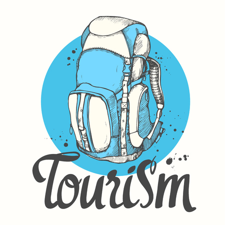 Travel backpack. Vector hand-drawn bag. Illustration in sketch style on white background. Brush calligraphy elements for your design. Handwritten ink lettering. Stock Illustratie
