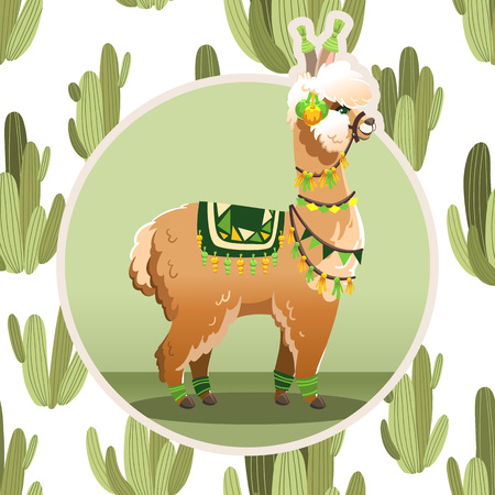 Illustration with llama and cactus plants. Vector seamless pattern on botanical background. Greeting card with Alpaca. Illustration