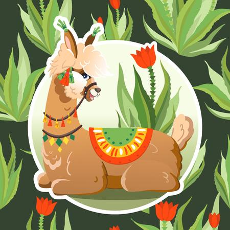 Illustration with llama and cactus plants. Vector seamless pattern on botanical background. Greeting card with Alpaca. Ilustração
