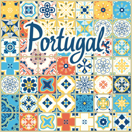 Seamless pattern with Portuguese tiles. Vector illustration of Azulejo on white background. Mediterranean style. Multicolor design.