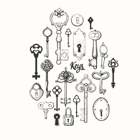 Vector set of hand-drawn antique keys. Illustration in sketch style on white background. Old design Banque d'images - 116639130
