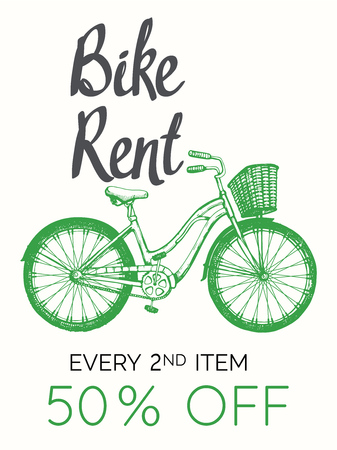 Travel vector illustration with bicycle in sketch style on white background. Bike rent. Brush calligraphy elements for your design. Handwritten ink lettering.