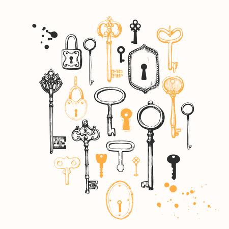 Vector set of hand-drawn antique keys. Illustration in sketch style on white background. Old design